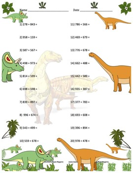 Three Digit Addition - Dinosaur Themed Worksheets - Horizontal (15 Pages)