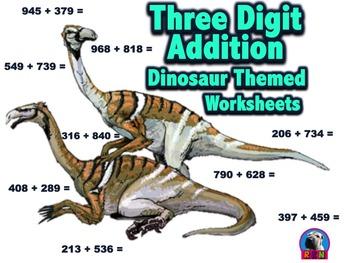 Three Digit Addition - Dinosaur Themed Worksheets - Horizo