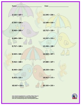 Three Digit Addition - Easter Themed Worksheets - Horizontal (15 Pages)