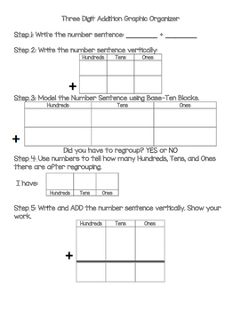 Three Digit Addition Graphic Organizer