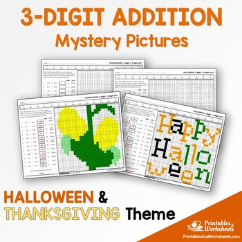 Halloween, Thanksgiving Three Digit Addition Coloring Worksheets