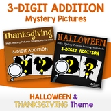Halloween Add And Color Worksheet, Thanksgiving 3 Digit Addition Mystery Picture