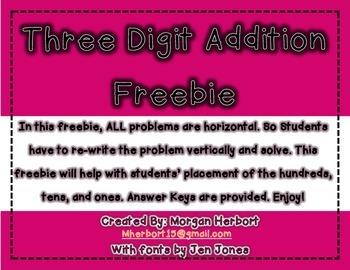 Three Digit Addition- Horizontal Problems