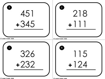 Three Digit Addition Math Task Cards: No Regrouping