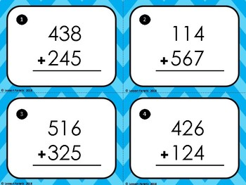 Three Digit Addition Math Task Cards: With Regrouping