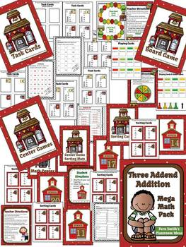 Three Addend Addition Center Game Task Cards Board Game and Color By Numbers