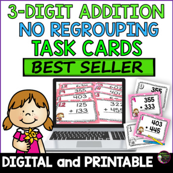 Three-Digit Addition NO Regrouping Task Cards- FREE