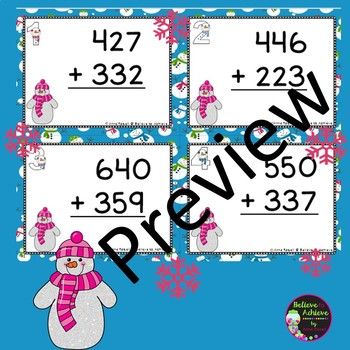 Three-Digit Addition NO regrouping Task Cards (Snowman Theme)