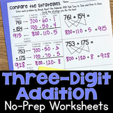 Three-Digit Addition No-Prep Printable Practice Worksheets