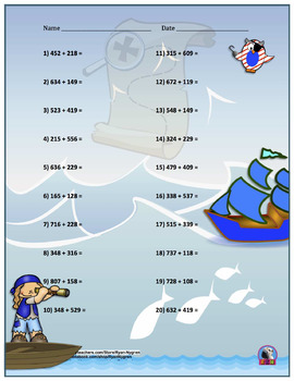 Three Digit Addition - Pirate Themed Worksheets - Horizontal (15 Pages)