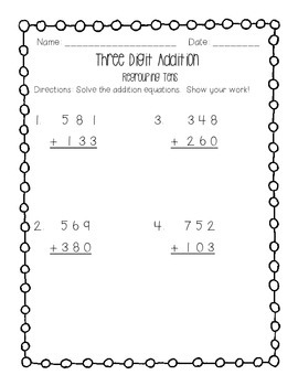 Three Digit Addition Regrouping Tens