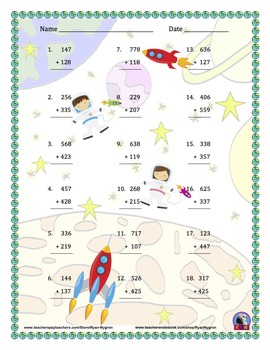 Three Digit Addition - Space Themed Worksheets - Vertical (15 Pages)
