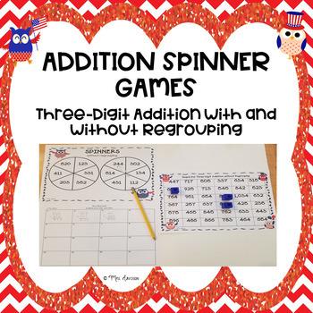 Three Digit Addition Spinner Game