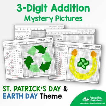 Three Digit Addition - St. Patrick's Day, Earth Day