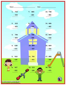 Three Digit Addition & Subtraction - Back To School Themed Worksheet Bundle