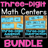Three-Digit Addition & Subtraction Math Centers BUNDLE