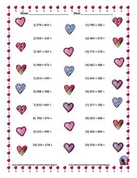 Three Digit Addition & Subtraction Worksheet Bundle - Valentine's Day - 60 pages
