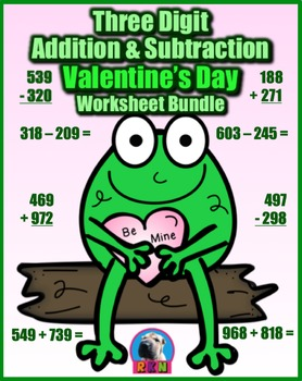 Three Digit Addition & Subtraction Worksheet Bundle - Vale