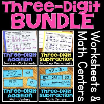 Three-Digit Addition & Subtraction Worksheets & Math Stations BUNDLE