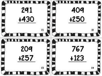 Three-Digit Addition Task Cards- With and Without Regrouping