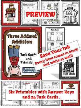 Three Addend Addition Task Cards and Color By Number Printables