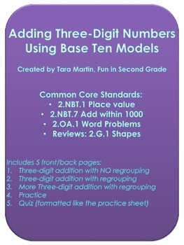 Three Digit Addition Using Base Ten Models