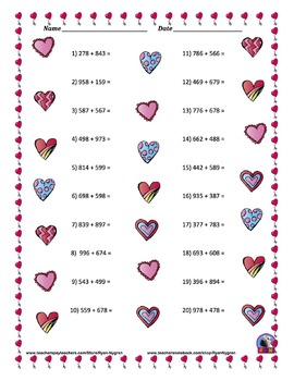 Three Digit Addition - Valentine's Day Themed Worksheets - 15 pages (Horizontal)