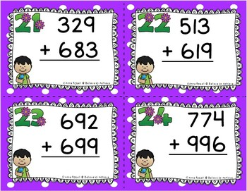 Three-Digit Addition WITH  Regrouping Task Cards