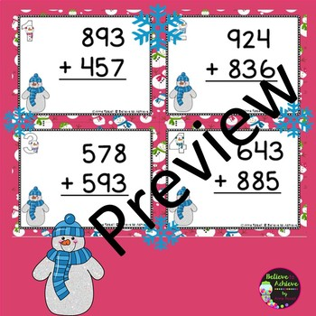 Three-Digit Addition WITH regrouping (Snowman Theme)