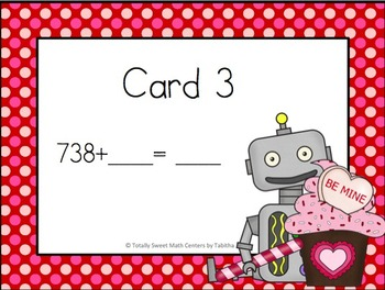Three Digit Addition Walk the Room Valentine  Edition
