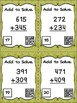 Three Digit Addition With Regrouping - 24 Task Cards with