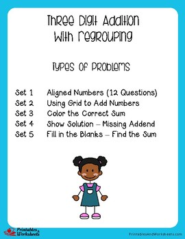 Adding 3 Digit Numbers With Regrouping Worksheets for Practice, Assessment
