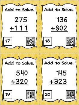 Three Digit Addition Without Regrouping - 24 Task Cards with QR Codes