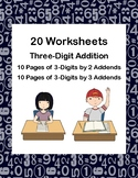 Three-Digit Addition Worksheets-2 and 3 Addends