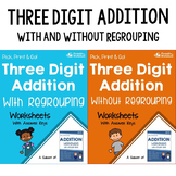 Adding 3 Digit Numbers Worksheets No Regrouping, With Regrouping