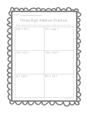Three Digit Addition Worksheets--With Room to Show Work!