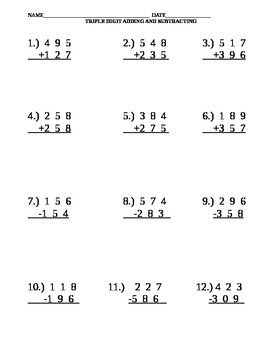 Three Digit Addition and Subtraction Worksheet