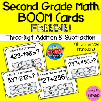 Three Digit Addition and Subtraction BOOM Cards FREEBIE!
