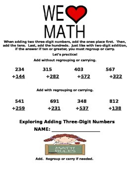 Three-Digit Addition and Subtraction Common Core Math Unit for Second Grade