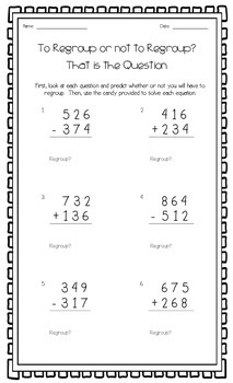 Three Digit Addition and Subtraction Munchie Math