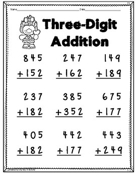 Three Digit Addition and Subtraction PRINT AND GO