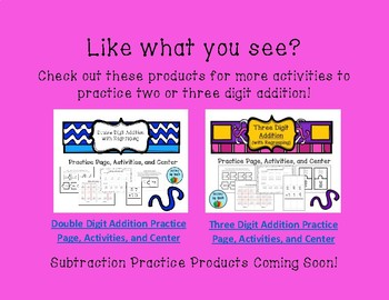 Three Digit Addition and Subtraction Practice Page Freebie
