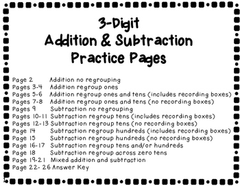 Three Digit Addition and Subtraction Practice Pages