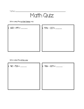 Three Digit Addition and Subtraction Strategies Quiz