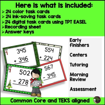 Three-Digit Addition and Subtraction Task Cards Bundle (Christmas theme)