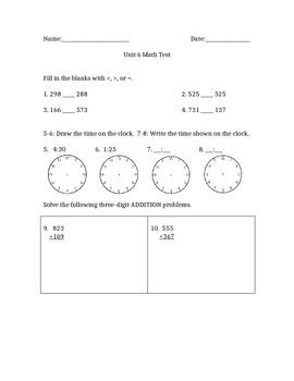 Three-Digit Addition and Subtraction Test