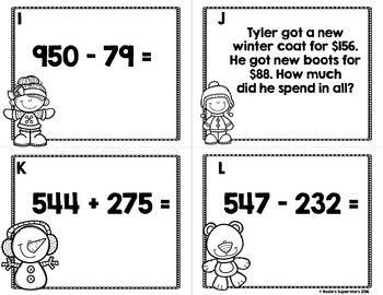Three Digit Addition and Subtraction Winter Task Cards w/QR Codes Bundle