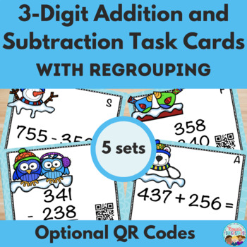 Three Digit Addition and Subtraction Winter Task Cards w/Q