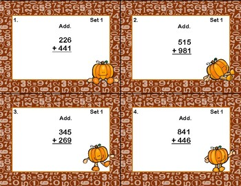 Three Digit Addition and Subtraction With Regrouping Grades 3-4 Fall Task Cards