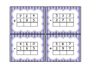 Three-Digit Addition and Subtraction With Regrouping Task Cards
